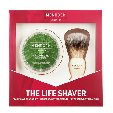 Men Rock Shaving Gift Set wiith shave cream and classic brush for excellent wet shaving experience