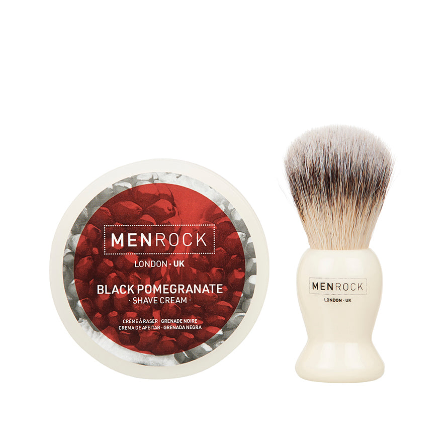 Shaving cream and brush kit from Men Rock in pomegranate scent