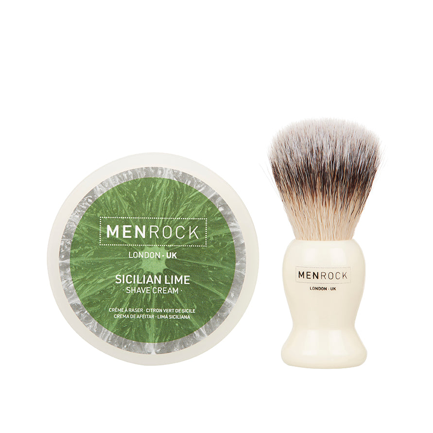 Shaving cream and brush kit from Men Rock in Sicilian lime scent