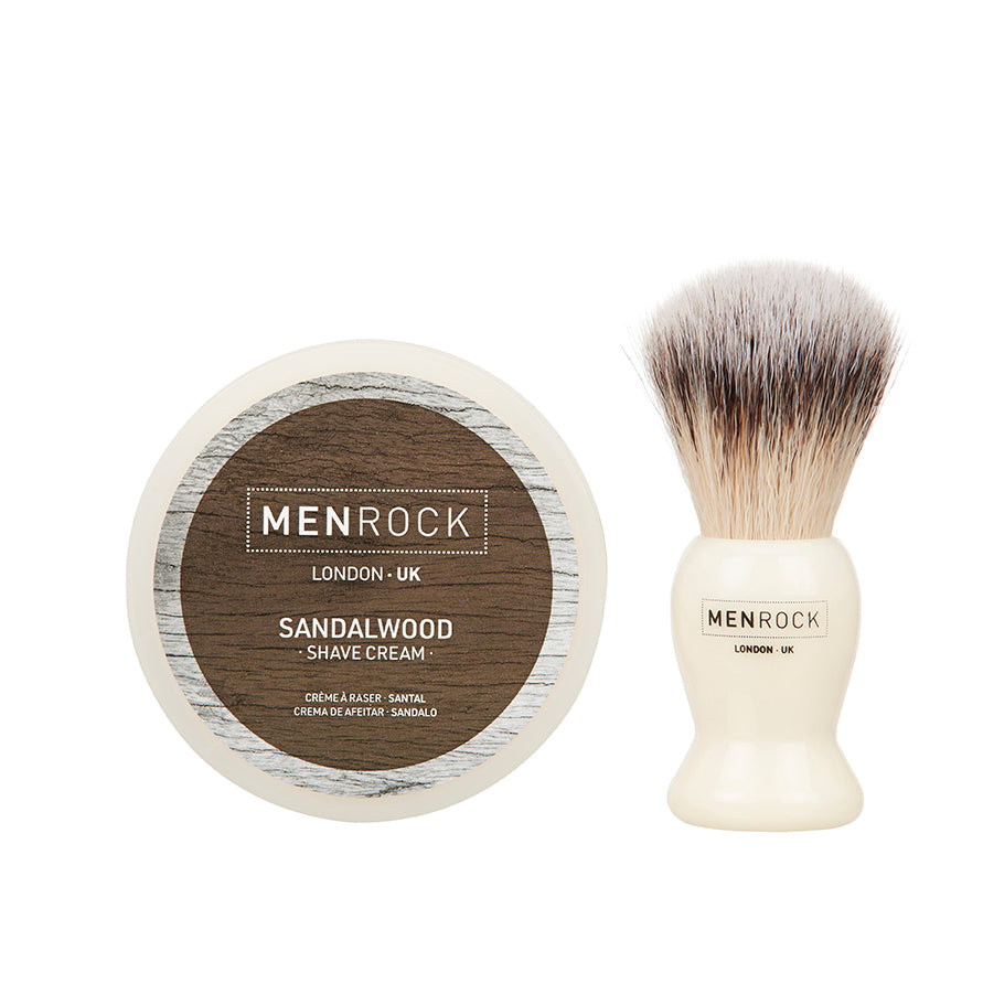 Sandalwood shaving cream and brush kit from Men Rock