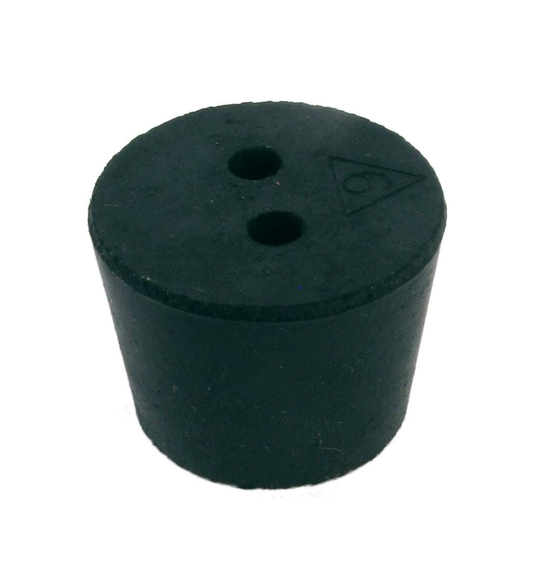Rubber Stopper, 2-hole, #6