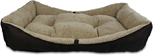 All for Paws Lambswool Bolster Bed - Medium/Brown