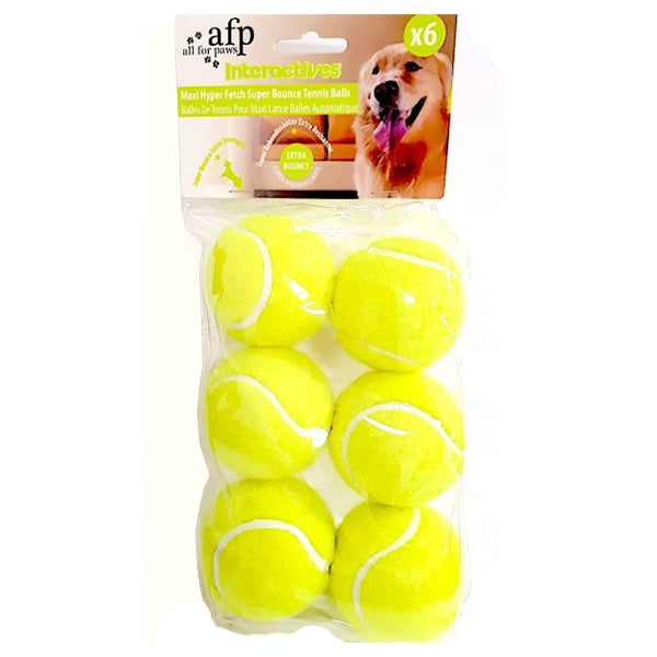 All for Paws Maxi Fetch Super Bounce Tennis Ball - 6 pcs