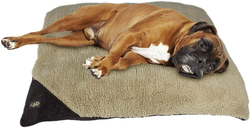 All for Paws Lambswool Pillow Bed - Medium/Brown