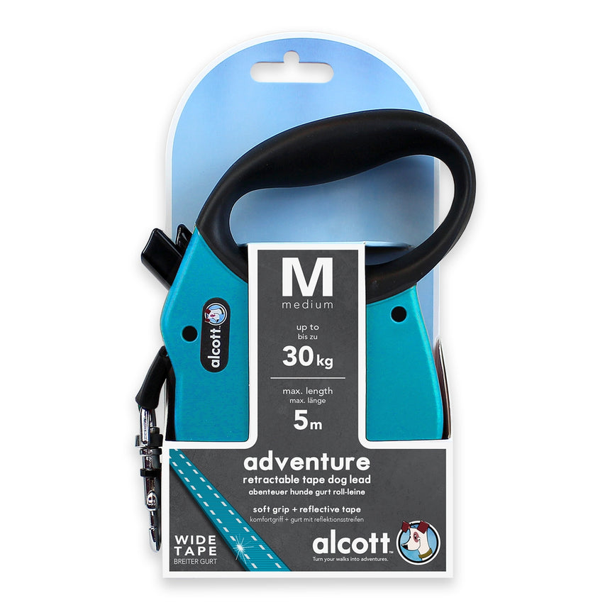 Alcott Adventure retractable leash, 5 m - Medium - Blue