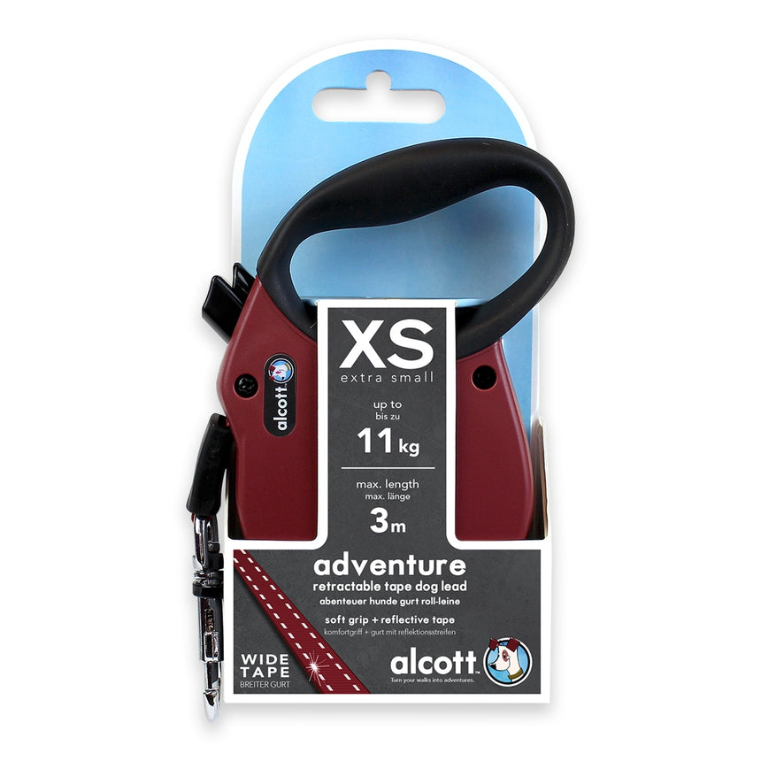 Alcott Adventure retractable leash, 3 m - Extra-Small - Red