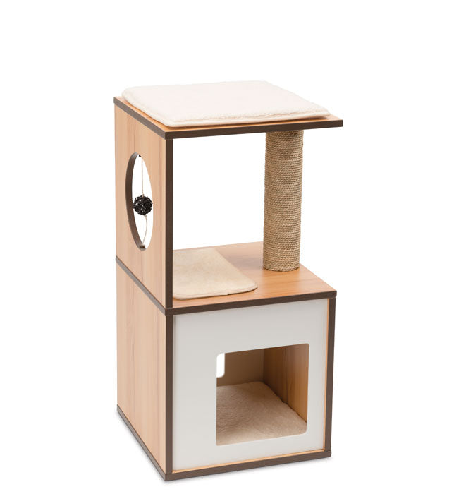 Hagen Premium Cat Furniture V-Box Small - Walnut