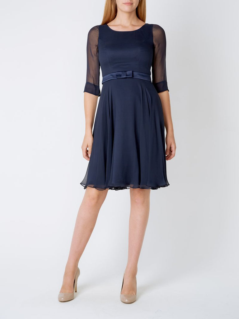 MIDNIGHT GEORGETTE SILK GEORGETTE SERENA DRESS CIRCLE SKIRT