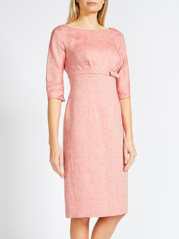 EMILY MOTHER OF THE BRIDE DRESS CORAL RED CREASE RESIST MARLE LINEN