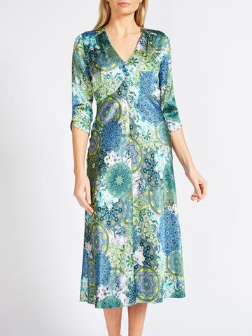 POPPY MOTHER OF THE BRIDE DRESS BLUE PISA PRINTED SILK SATIN