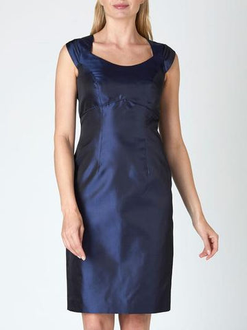 JOSEPHINE MOTHER OF THE BRIDE DRESS NAVY REVERSE PLAIN SHANTUNG