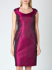 JOSEPHINE DRESS FUCHSIA REVERSE PLAIN SILK SHANTUNG