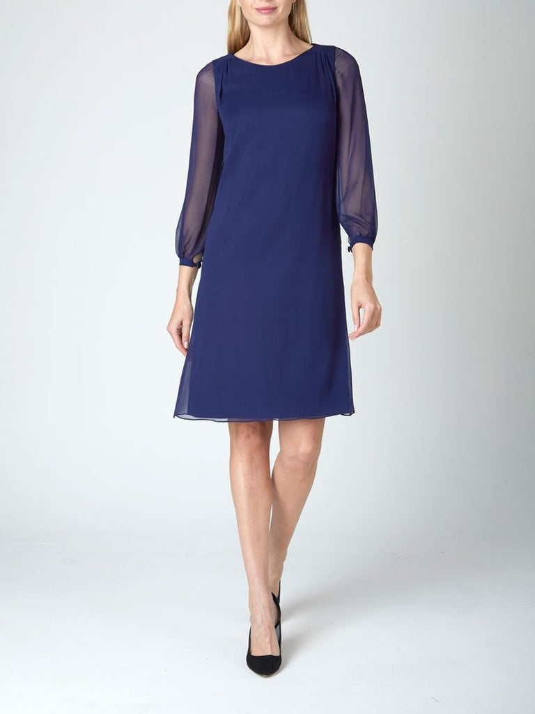 NAVY PLAIN SILK GEORGETTE LOUISA DRESS