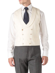 CREAM GABARDINE WOOL DOUBLE BREASTED 8 BUTTON SHAWL LAPEL WAISTCOAT