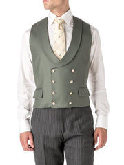 OLIVE WOOL DOUBLE BREASTED 8 BUTTON SHAWL LAPEL WAISTCOAT