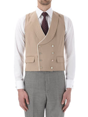 BEIGE GABARDINE WOOL DOUBLE BREASTED PIPED WAISTCOAT