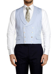 BLUE CULCROSS LINEN DOUBLE BREASTED 8 BUTTON SHAWL LAPEL WAISTCOAT