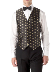 BLACK BEES SILK SINGLE BREASTED 6 BUTTON WAISTCOAT