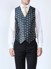 NAVY BEES SILK SINGLE BREASTED 6 BUTTON WAISTCOAT
