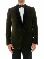 OLIVE VELVET COTTON SINGLE BREASTED GROSVENOR SMOKING JACKET