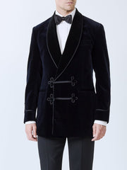 NAVY VELVET COTTON DOUBLE BREASTED SMOKING JACKET