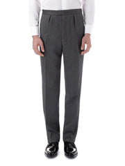 GREY WESTMINSTER STRIPE WOOL CAVALRY TROUSERS