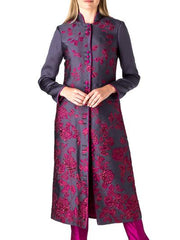 CARNABY COAT AUBERGINE LETHABY JACQUARD
