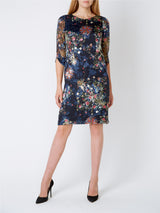 Louise Dress Navy Davenport Silk Devore Chiffon