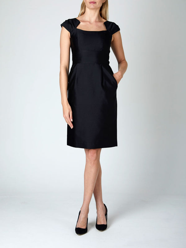 Black Connaught Silk/Wool Bridgitte Dress