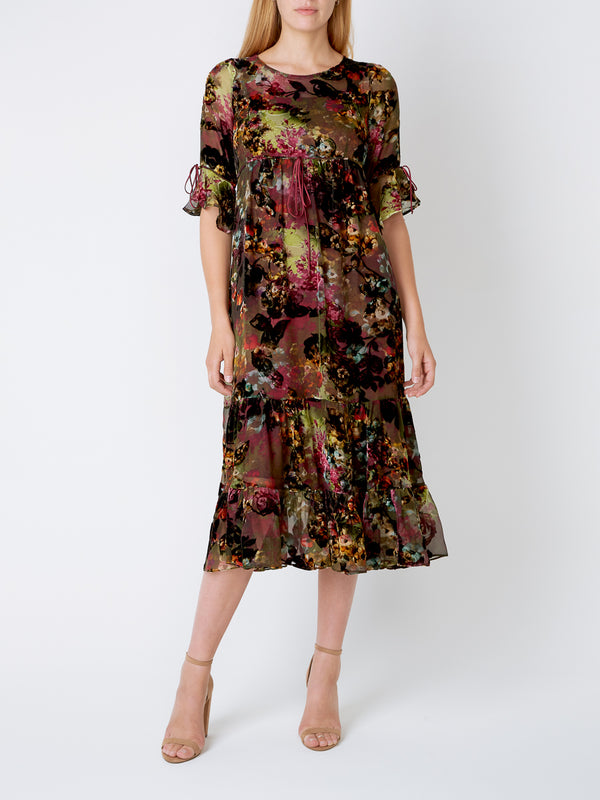Green Heartwood Silk Devore Chiffon Nancy dress
