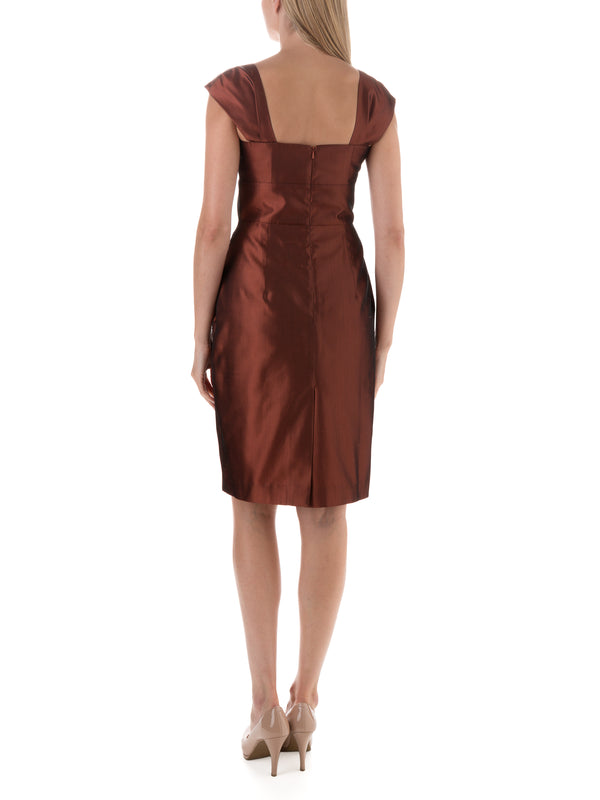 Russet Plain Shantung Bardot Dress