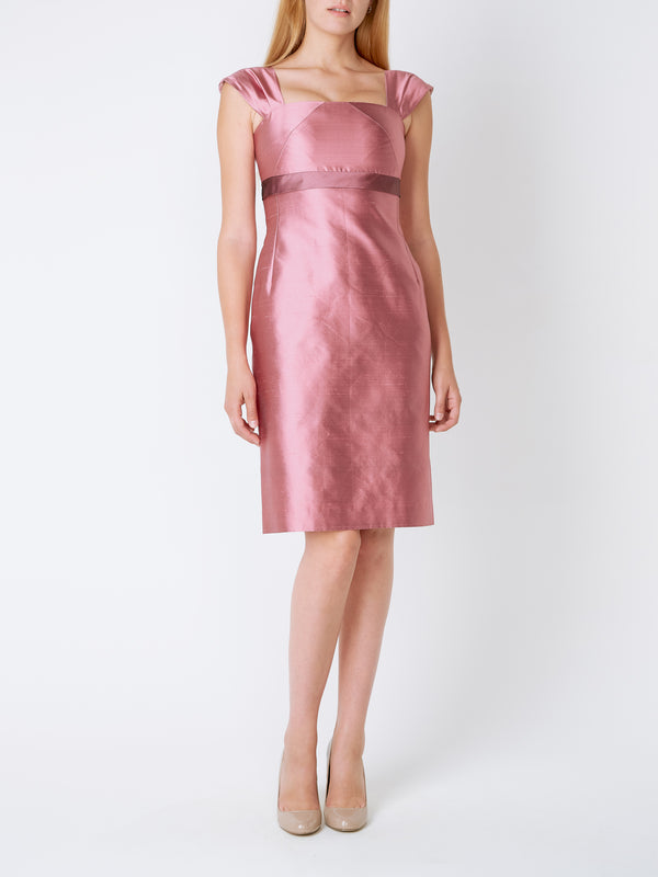Strawberry Pink Plain Silk Shantung Empire Dress