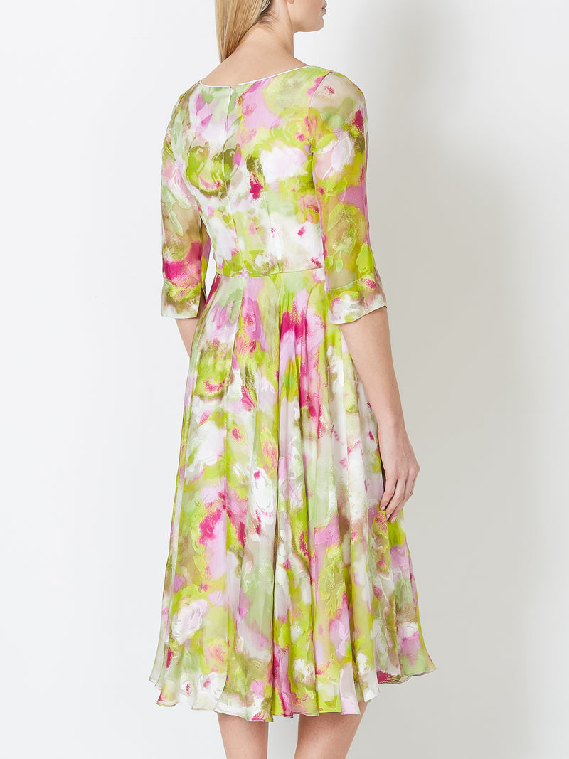 Serena Longer Circle Dress Fuchsia Como Chiffon