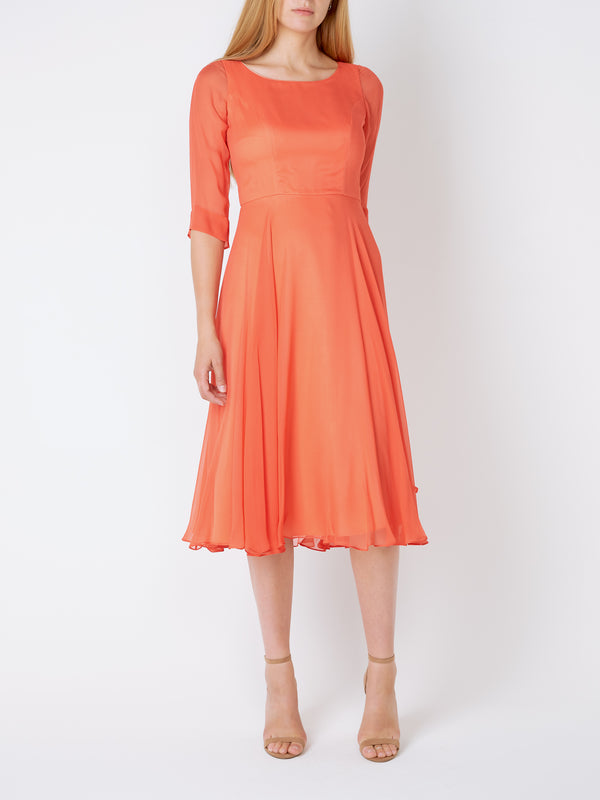 Serena Longer Circle Dress Geranium Plain Georgette