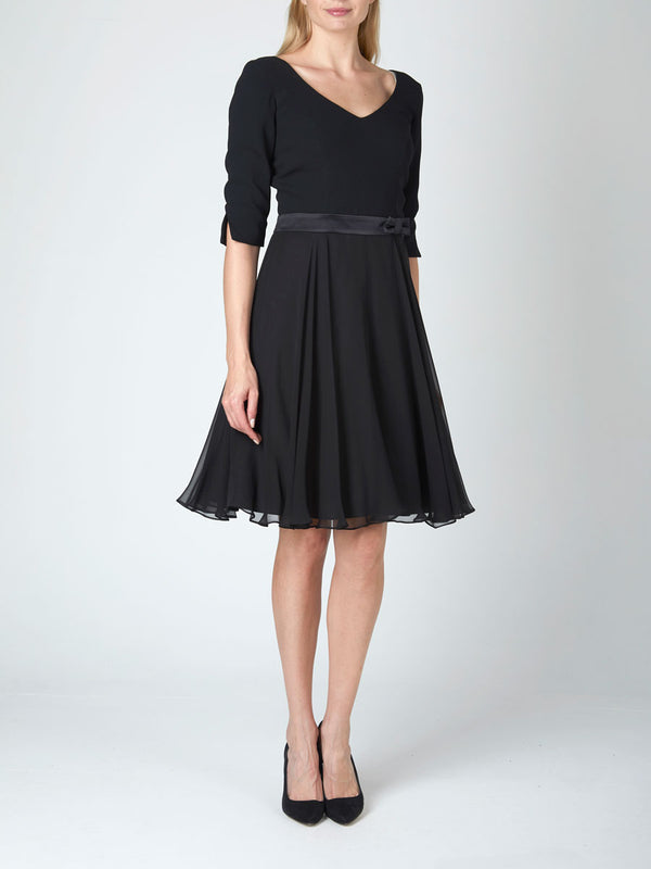 Jemima Dress Black Plain Georgette