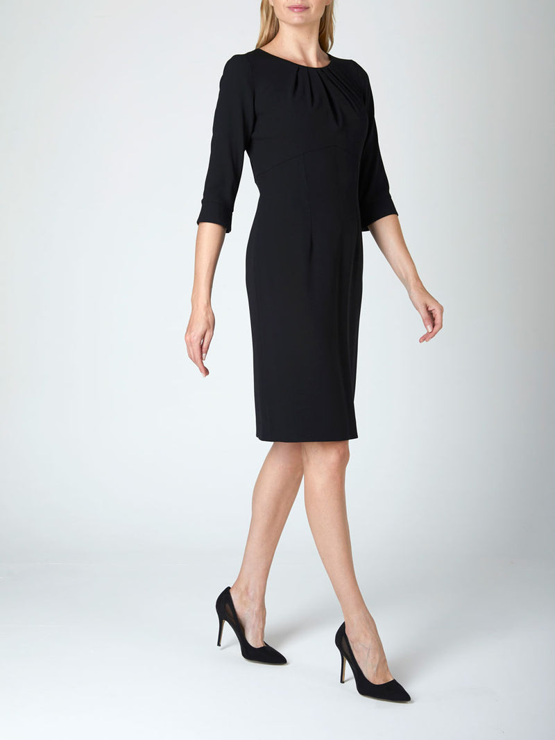 Black Plain Heavy Crepe Ozcan Straight Dress