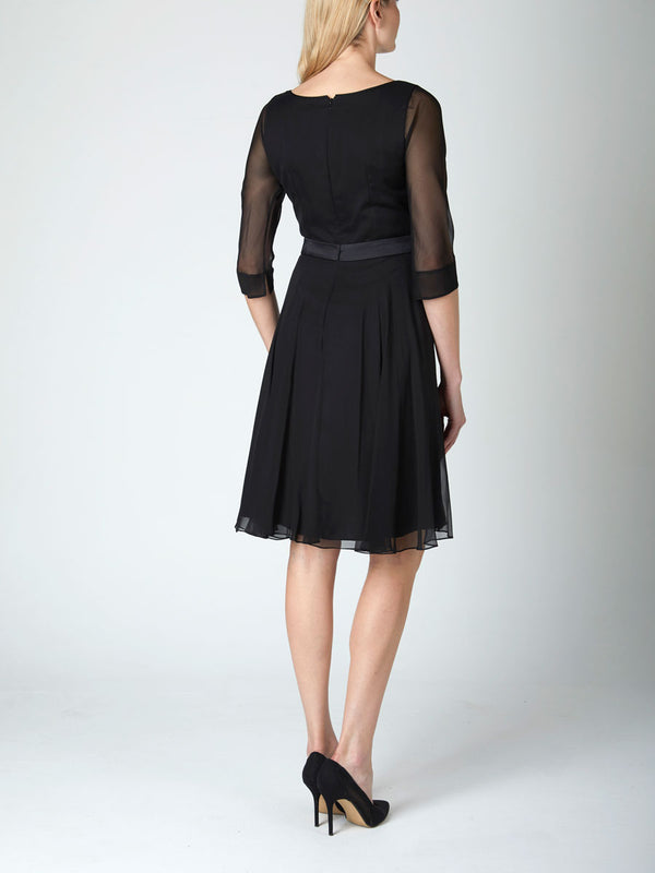 Serena Circle Dress Black Georgette Silk Georgette