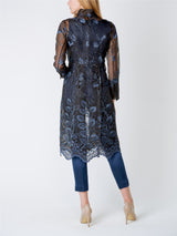 Belgravia Coat Black Blue Burnett Silk Organza