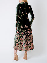 Long swing coat Dark Green Sofia Silk Velvet