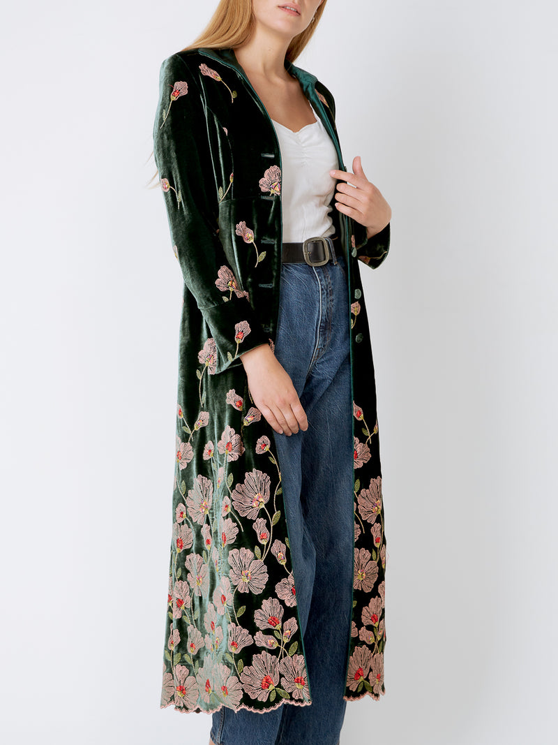Dark Green Sofia Silk Velvet Long swing coat