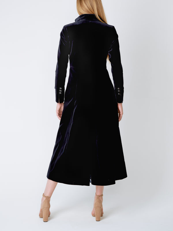 Long Swing Coat Black Plain Cotton Velvet