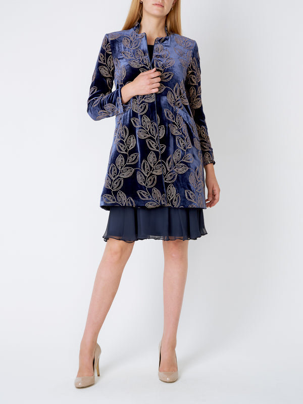Swing coat Royal Blue Thetford Silk Velvet