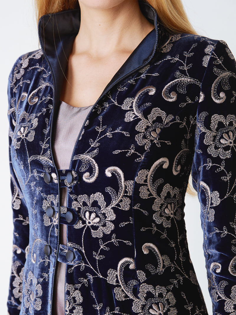 Westminster coat Royal Blue Tblisi Silk Velvet