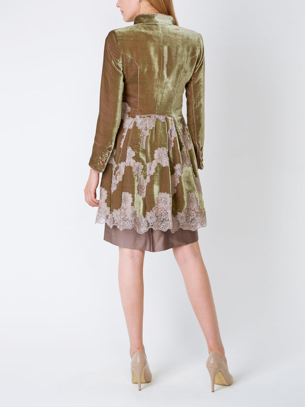 Olive Hamsterley Silk Velvet Waterloo Jacket (Pleat Back)