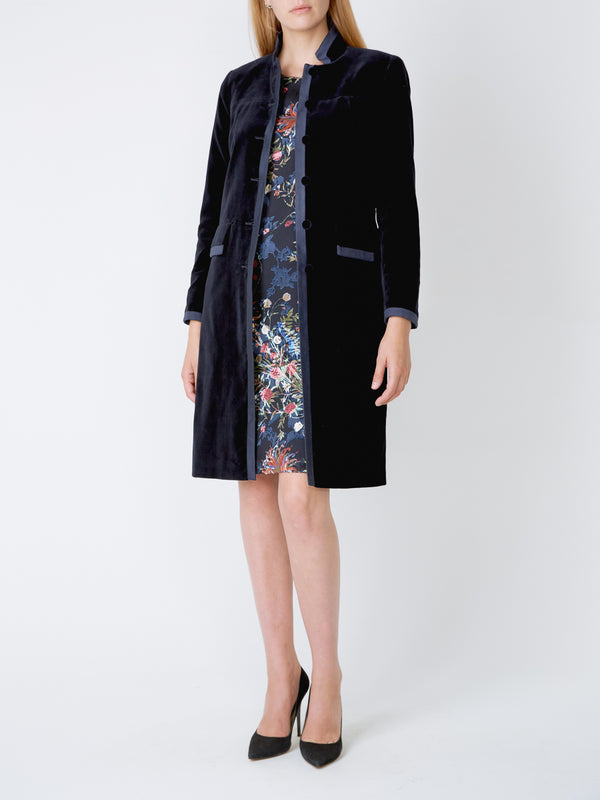 St James Coat Navy Plain Cotton Velvet