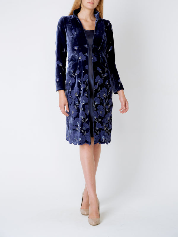 Royal Blue Sofia Silk Velvet Eton coat