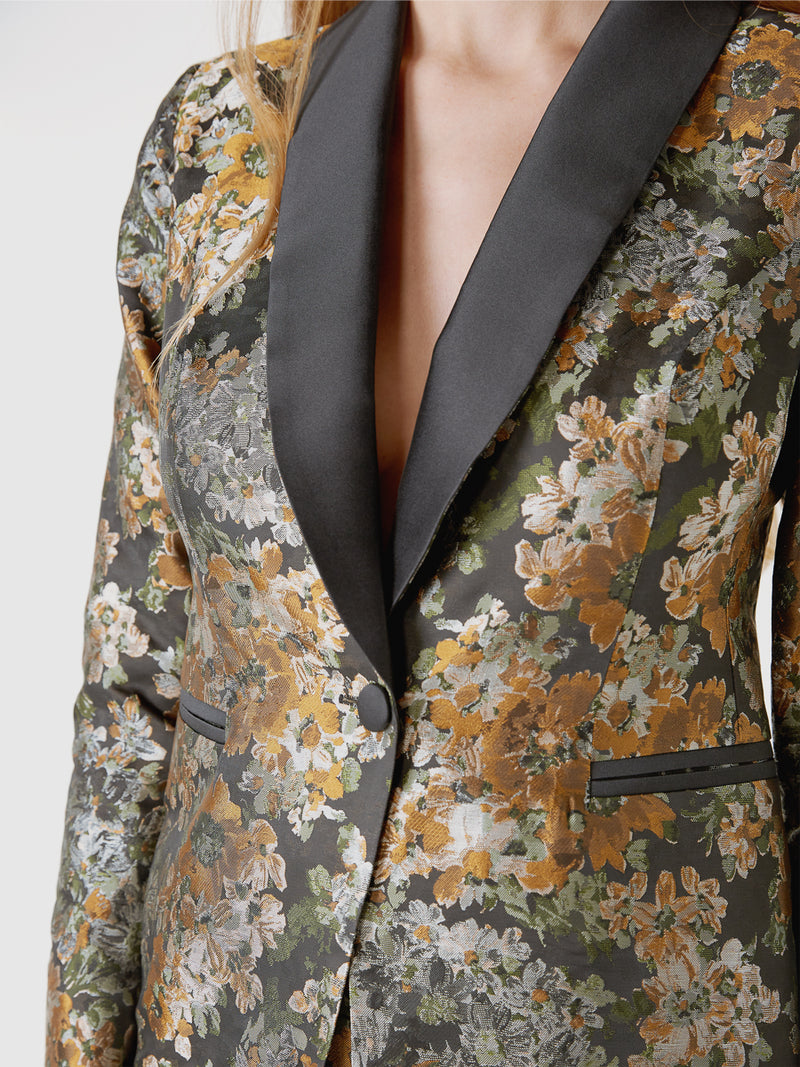 Olive Chatsworth Silk Jacquard Smoking Jacket