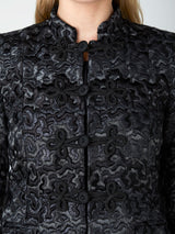 Long Nehru Jacket Black Lorimor Silk Velvet