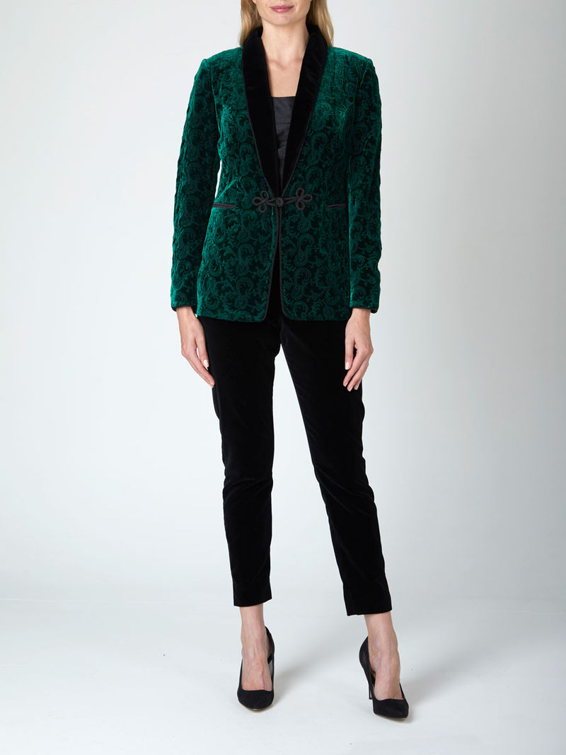 Women's Smoking Jacket Green Hamilton Silk Velvet