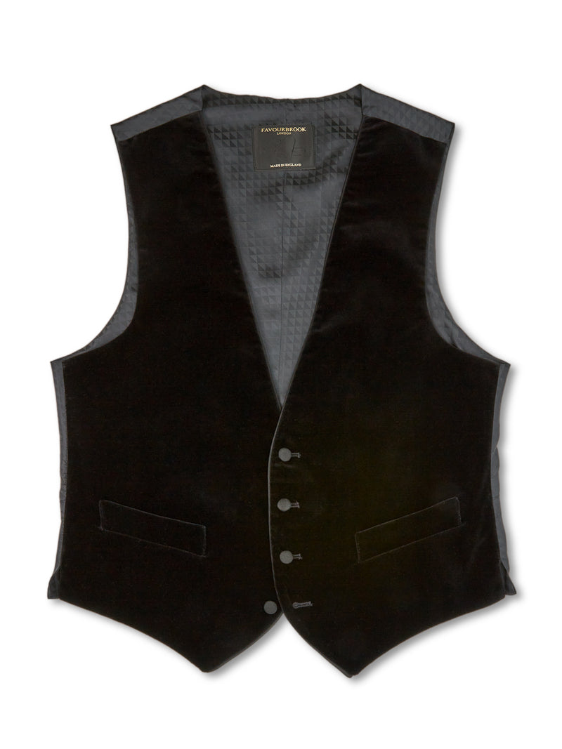 Black Velvet Cotton Single-Breasted 4-Button Piped Waistcoat